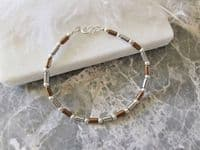 Slim Silver & Bronze Hematite Bracelet  With Tube Beads & Sterling Silver | Silver Sensations
